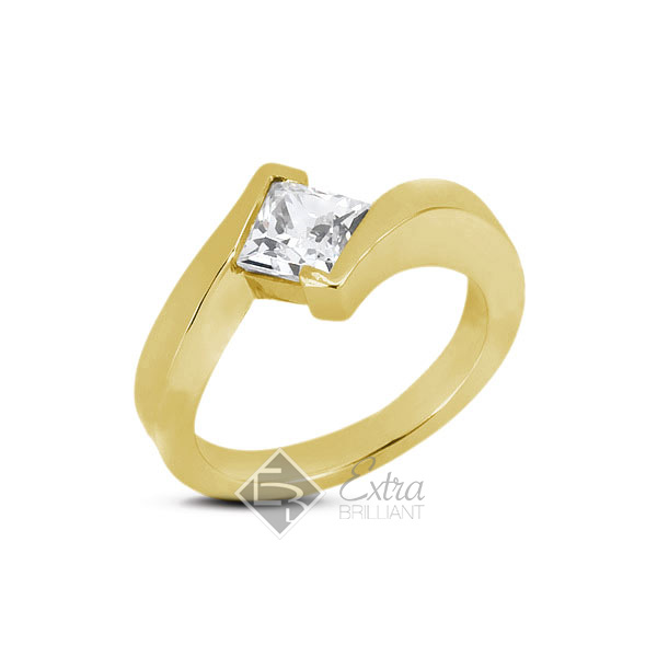 1.45ct K/VS1 Princess Natural Diamond 18k Yellow Gold Solitaire Engagement Ring